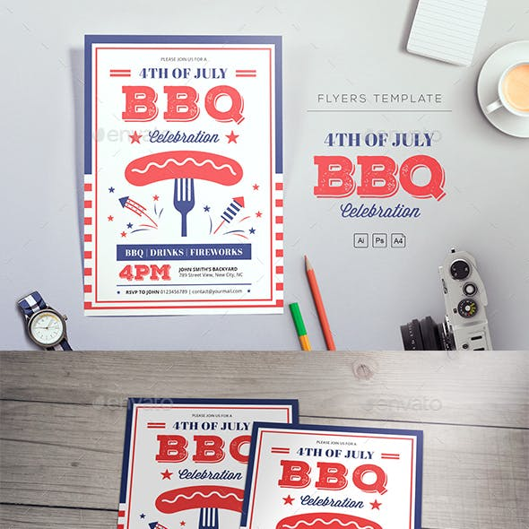 4th of July BBQ Flyers