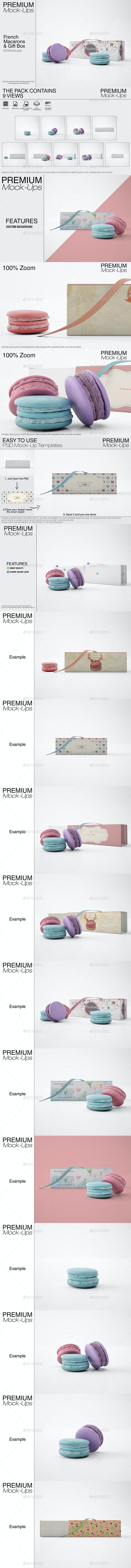 French Macarons & Gift Box Set - Print Product Mock-Ups