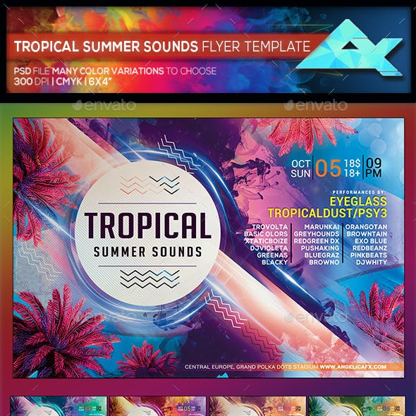 Tropical Summer Sounds  Flyer Template