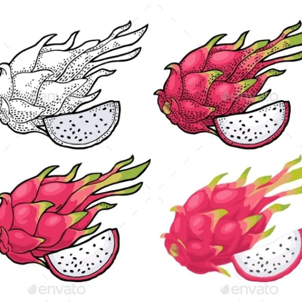 Dragon Fruit Whole and Slice