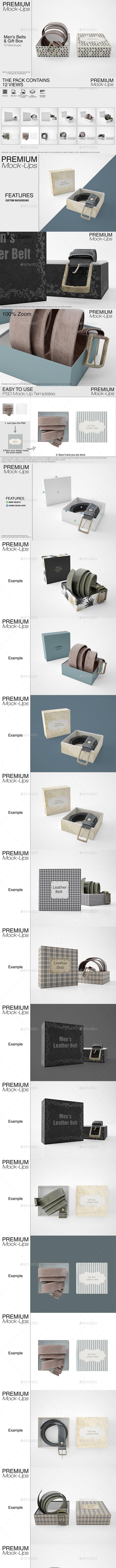 Men's Leather Belt & Gift Box Set - Print Product Mock-Ups