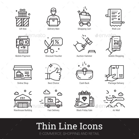 E-commerce, Shopping, Retail Business Linear Icons