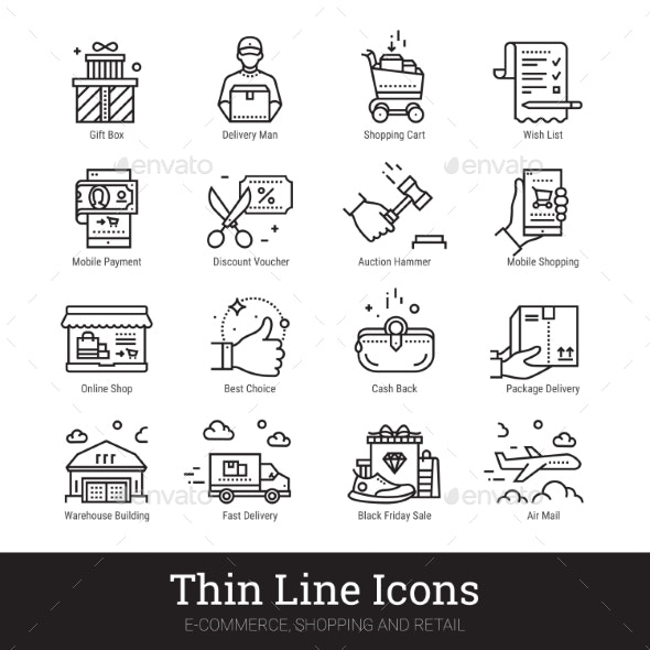 E-commerce, Shopping, Retail Business Linear Icons - Business Icons
