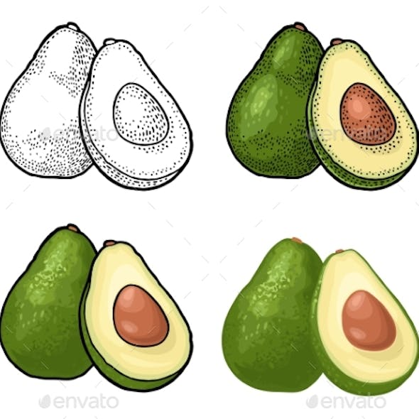 Half Avocado with Seed
