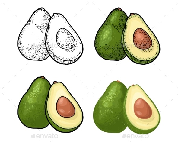 Half Avocado with Seed - Food Objects
