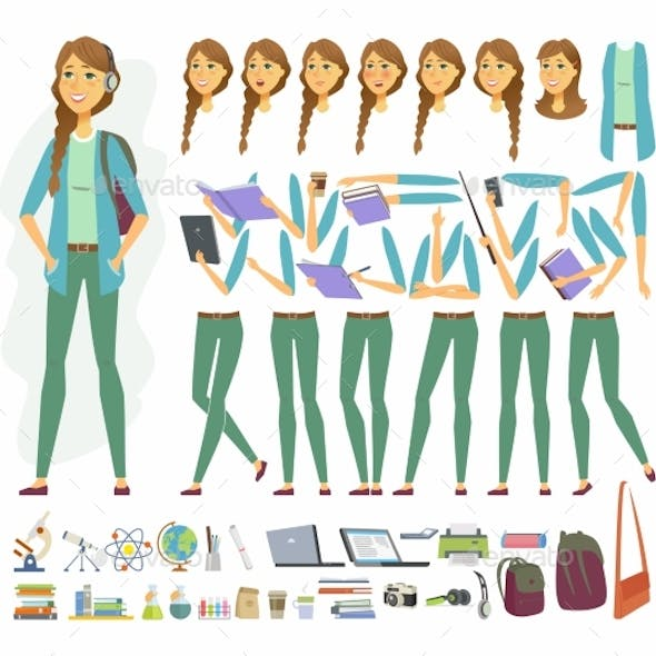 Female Student - Vector Cartoon People Character