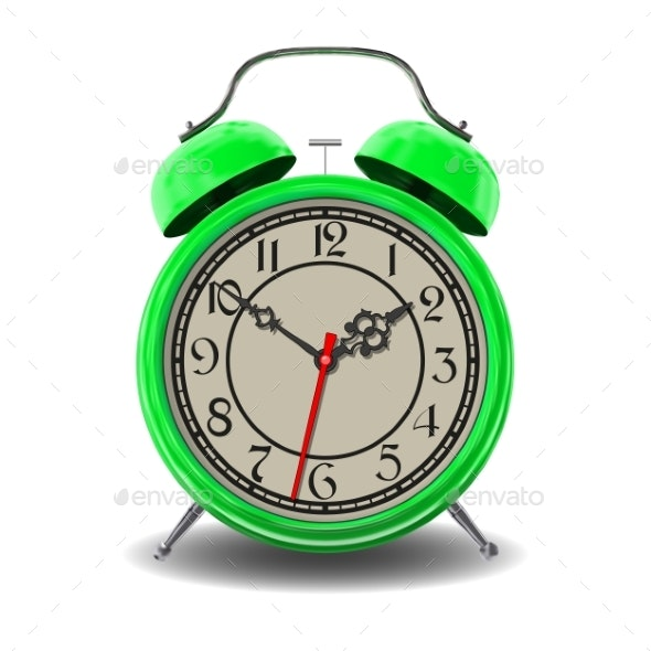 Green Alarm Clock - Man-made Objects Objects