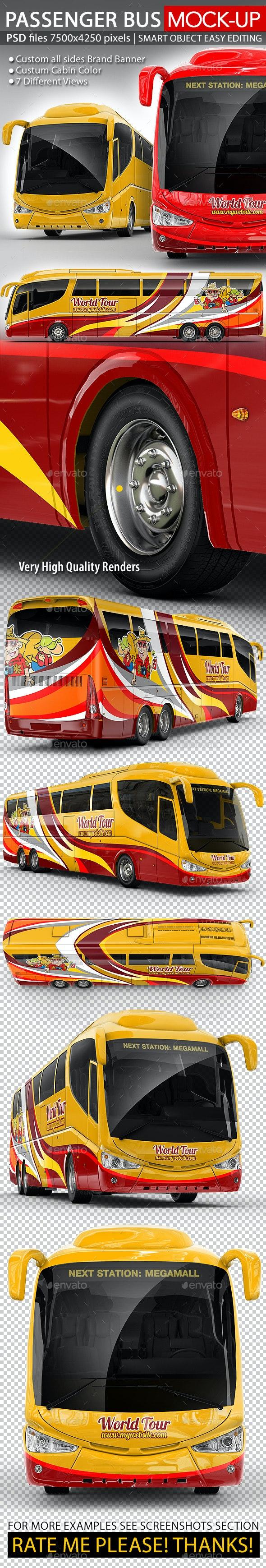 Tourist Bus, Passenger Coach Mock-Up - Vehicle Wraps Print