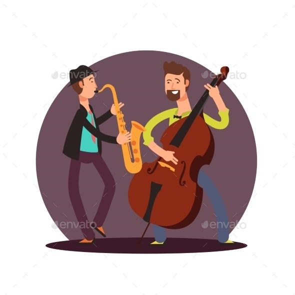 Flat Vector Classic Instrumental Duet Musicians - Miscellaneous Vectors