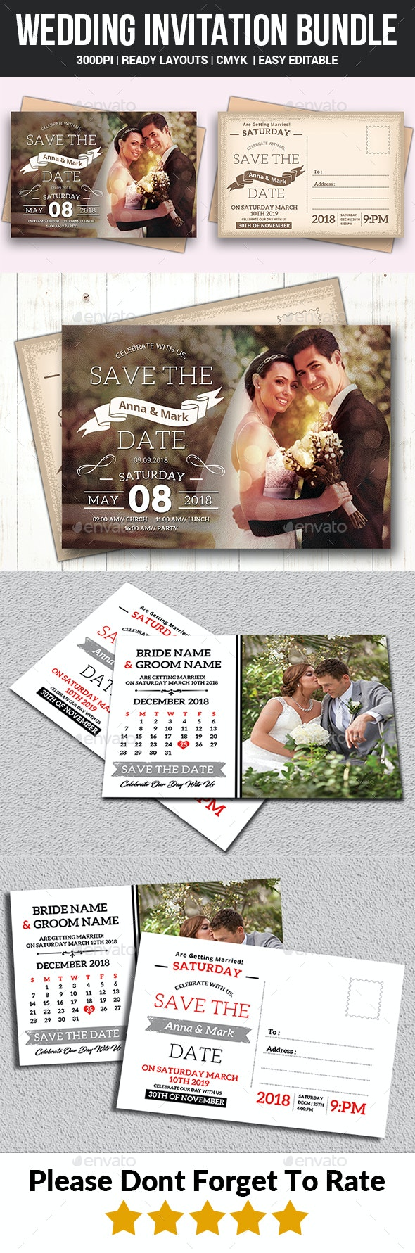 Wedding Invitation Bundle - Wedding Greeting Cards