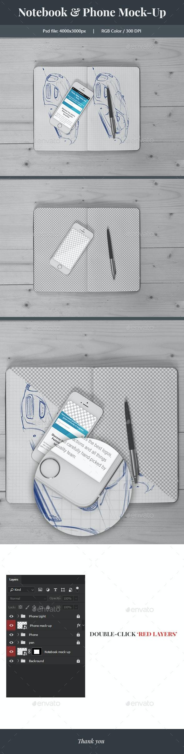 Notebook & Phone Mock-up - Mobile Displays