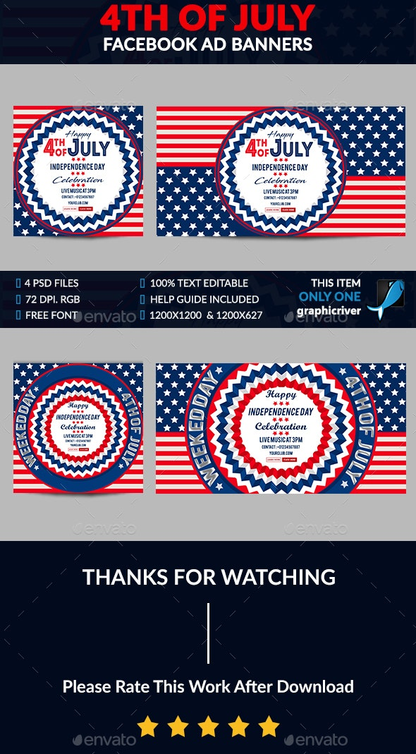 4th of July Facebook Ad Banner Design - 4 Design - Banners & Ads Web Elements