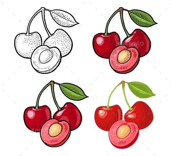 Whole and Half Cherry Berry with Leaf - Food Objects