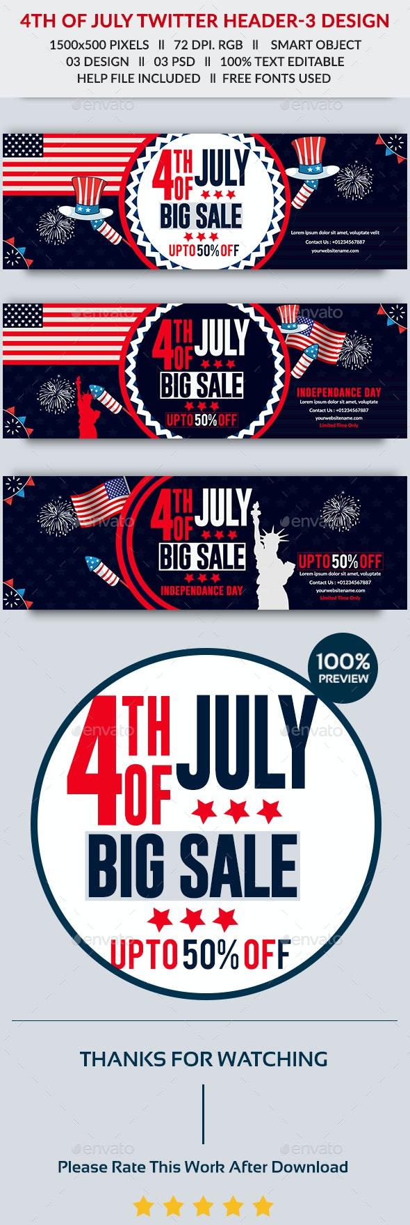 4th of July Twitter Header-3 Design- Image Included - Twitter Social Media
