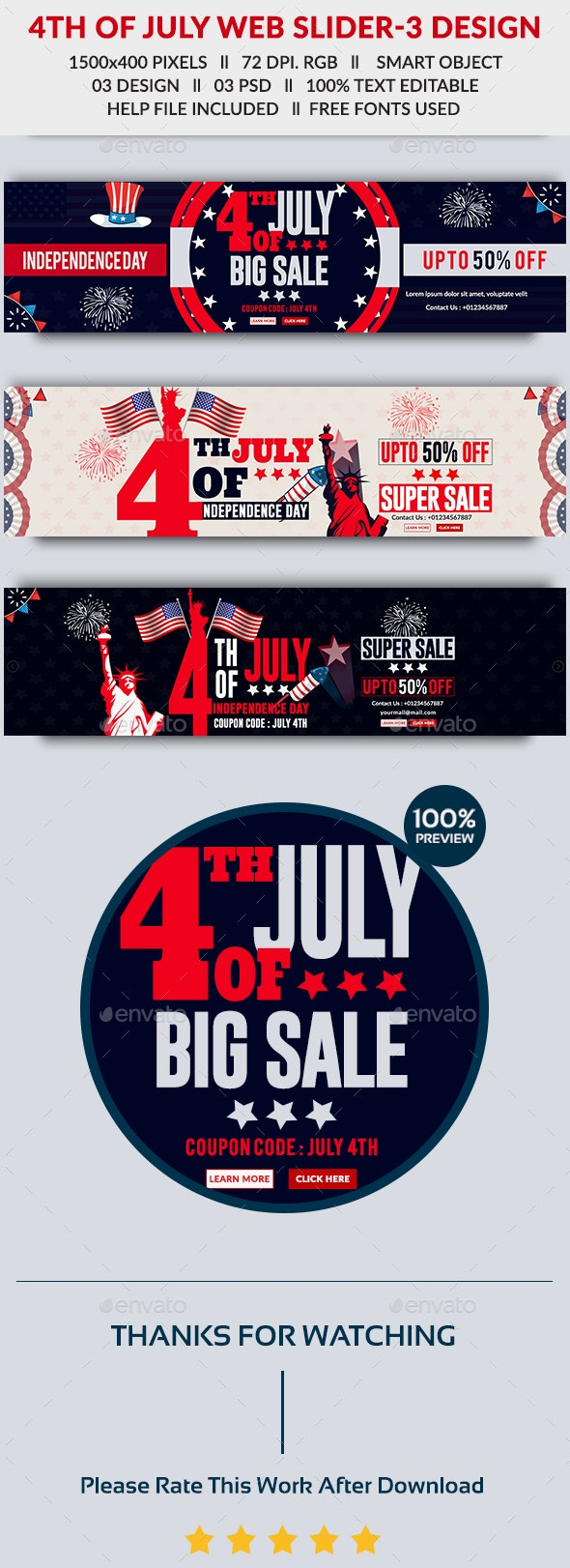 4th of July Web Slider - 3 Design- Image Included - Sliders & Features Web Elements