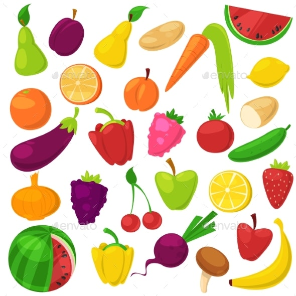 Fruits Vegetables Vector Healthy Nutrition - Food Objects