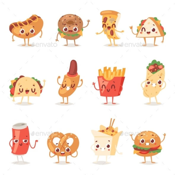 Fast Food Smile Vector Cartoon Expression - Food Objects