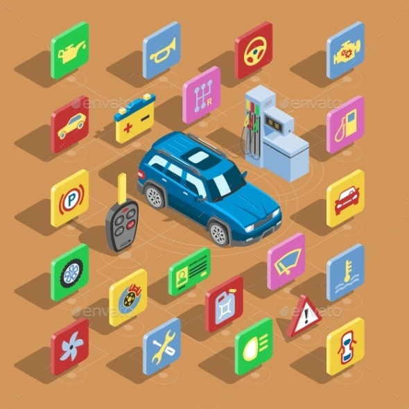 Car Automotive Icons Vector Isometric Automobile - Man-made Objects Objects