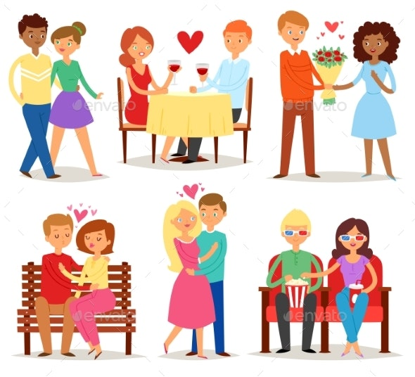 Couple in Love Vector Lovers Characters in Lovely - People Characters