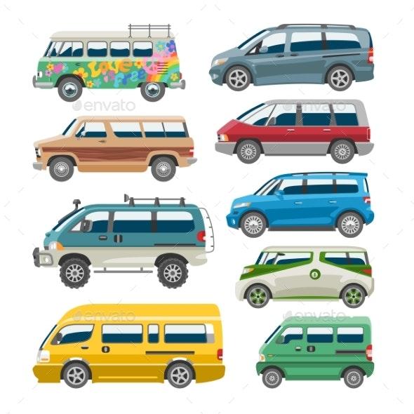 Minivan Car Vector Van Auto Vehicle Family Minibus - Man-made Objects Objects
