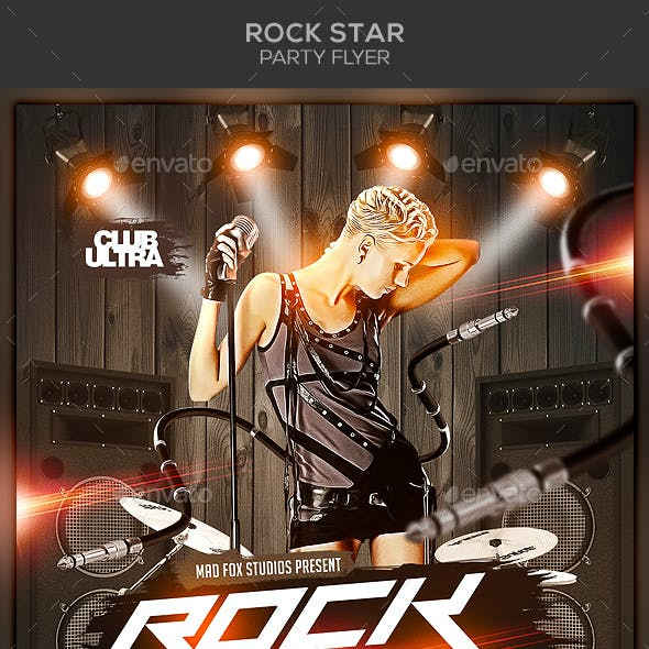Rock Star Party Flyer