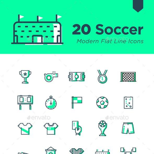 20 Soccer Modern Flat Line Icons