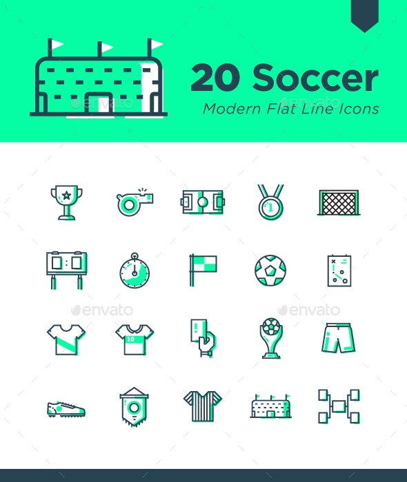 20 Soccer Modern Flat Line Icons - Objects Icons
