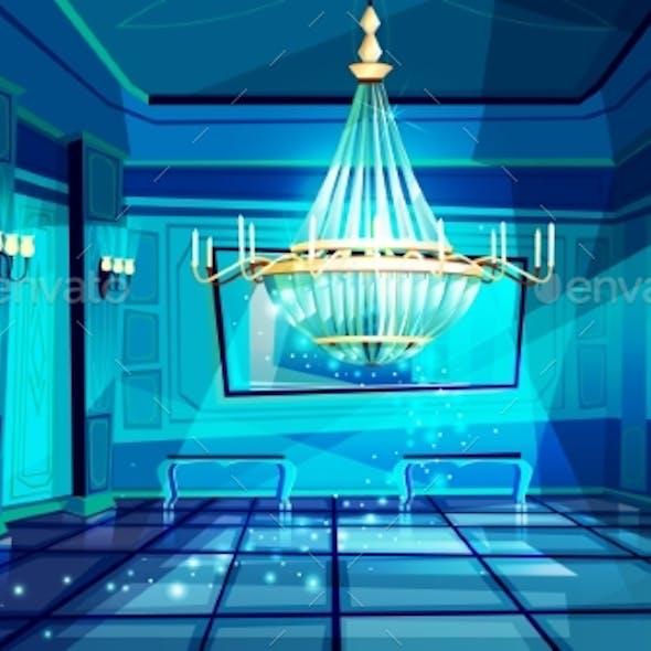 Ballroom Night Hall Vector Illustration