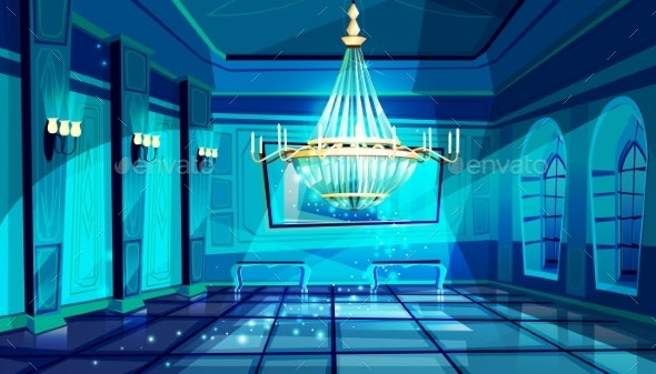 Ballroom Night Hall Vector Illustration - Buildings Objects