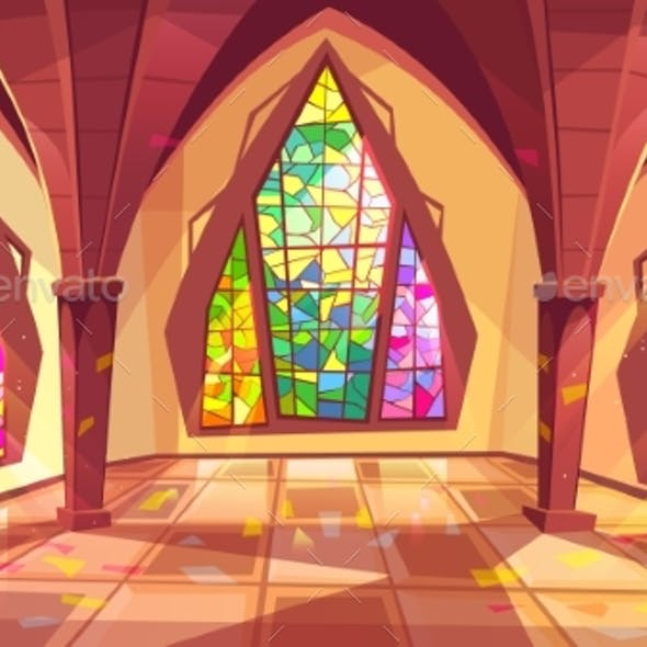 Ballroom or Gothic Palace Hall Vector Illustration