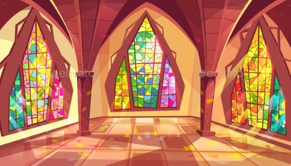 Ballroom or Gothic Palace Hall Vector Illustration - Buildings Objects
