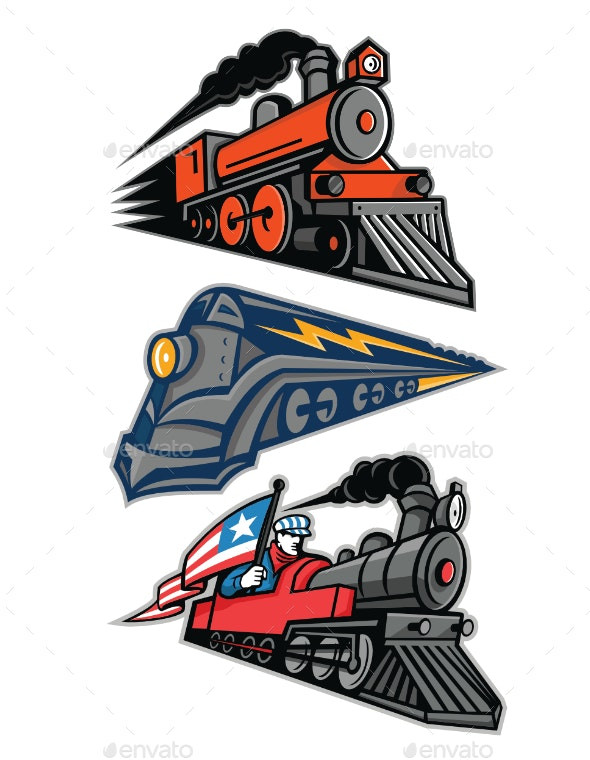 Vintage Steam Locomotive Mascot Collection - Travel Conceptual