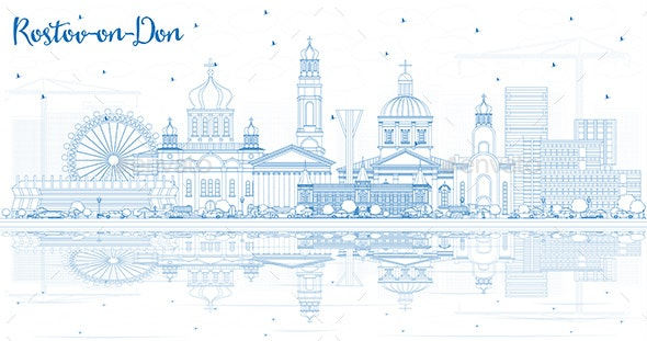 Outline Rostov-on-Don Russia City Skyline - Buildings Objects