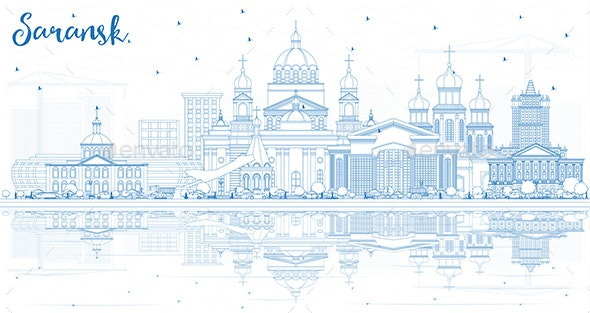 Outline Saransk Russia City Skyline with Blue Buildings - Buildings Objects