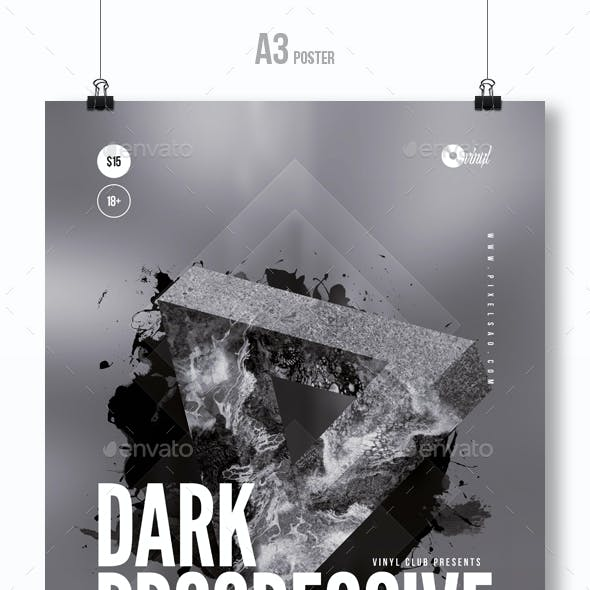 Dark Progressive - Party Flyer / Poster Template A3