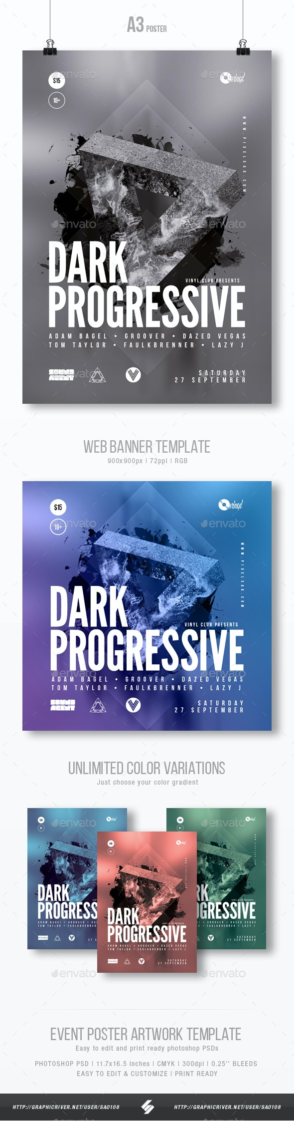 Dark Progressive - Party Flyer / Poster Template A3 - Clubs & Parties Events