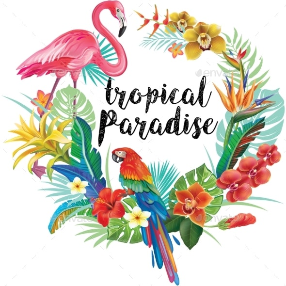 Round Border with Tropical Flowers and Birds - Flowers & Plants Nature