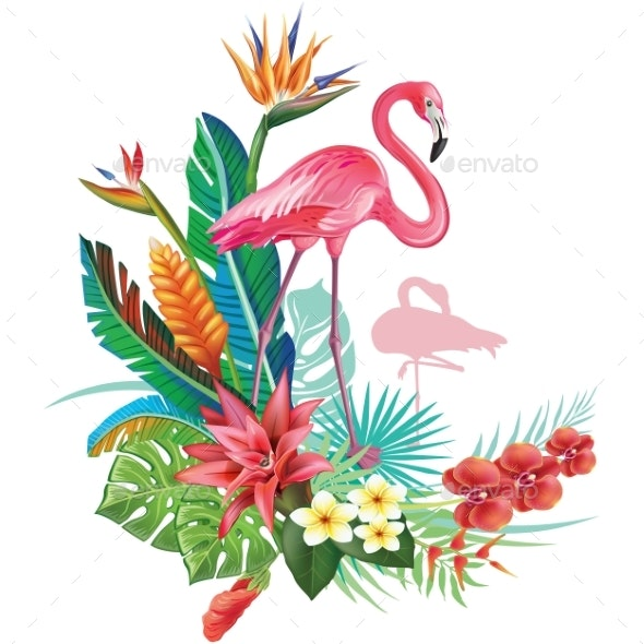 Tropical Decoration with Flamingoes - Flowers & Plants Nature