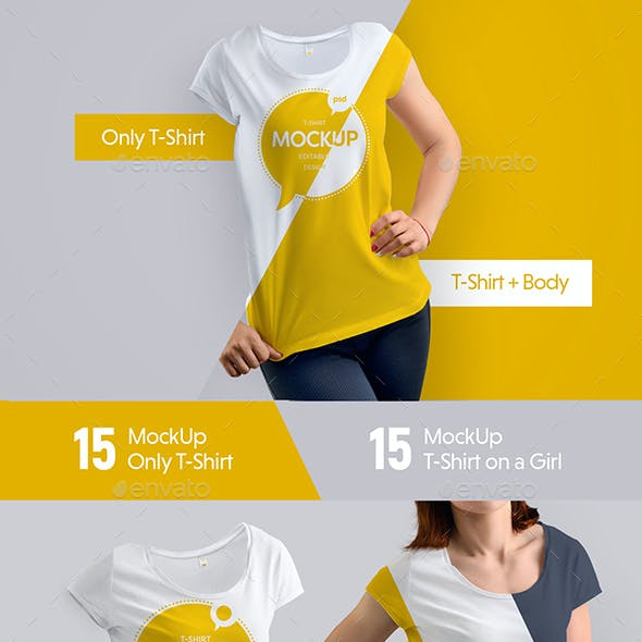 30 Mock-Ups T-Shirt (15 with a body girl / 15 only a T-shirt)