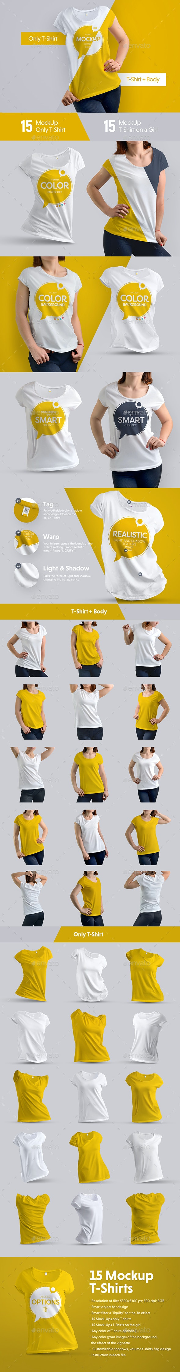 30 Mock-Ups T-Shirt (15 with a body girl / 15 only a T-shirt) - T-shirts Apparel