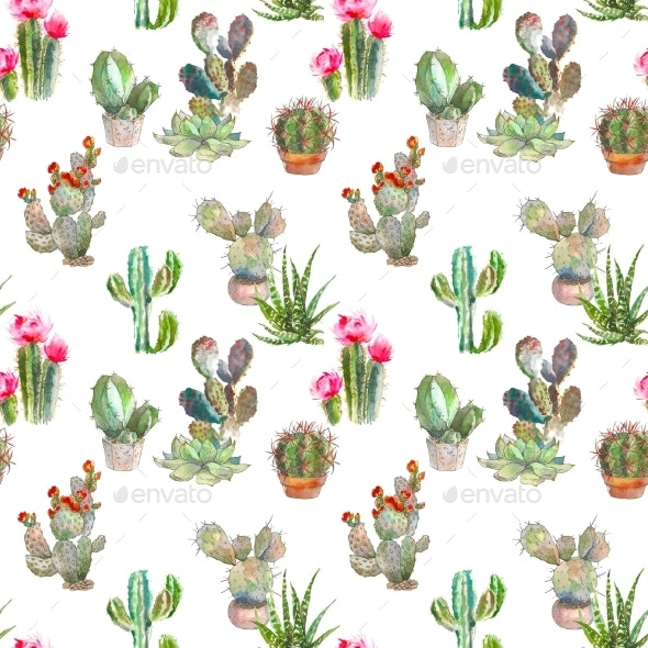 Seamless Pattern with Cactus and Succulents - Patterns Backgrounds