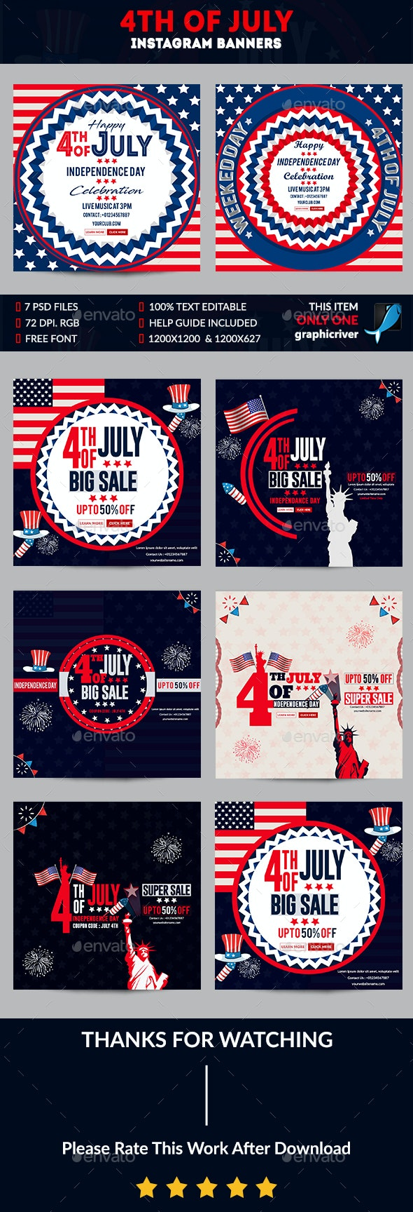 4th of July Instagram Banner - Banners & Ads Web Elements