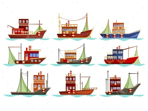 Set of Isolated Trawler or Ship Boat for Fishing - Man-made Objects Objects