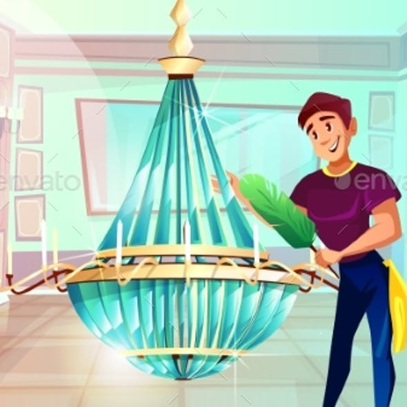 Ballroom Chandelier Cleaning Vector Illustration