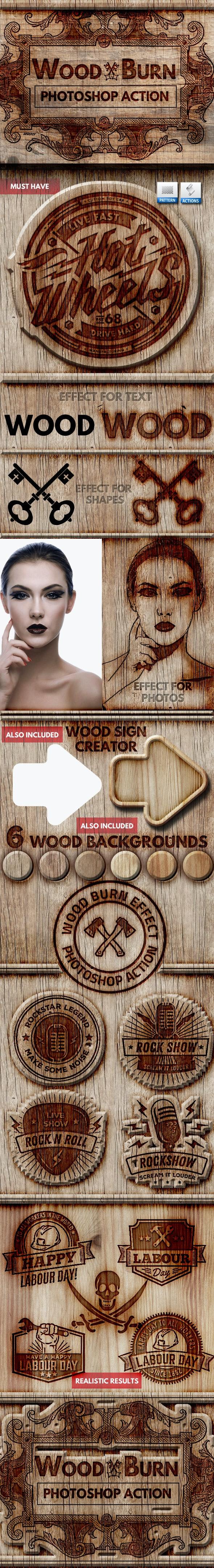 Wood Burn Effect Photoshop Action - Utilities Actions