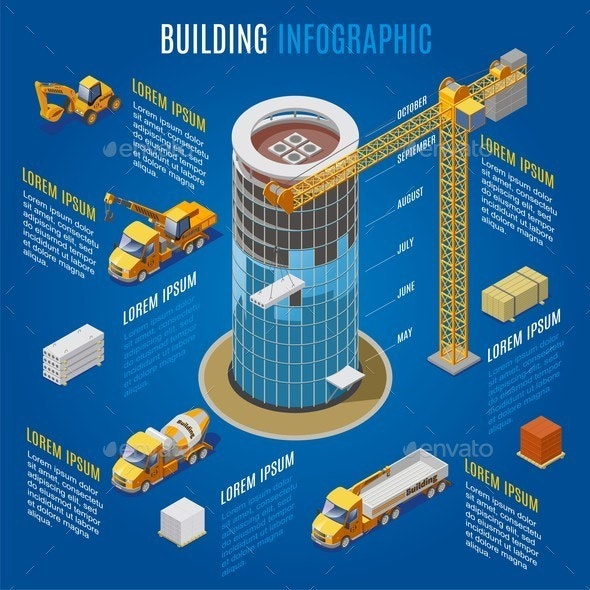 Isometric Modern Building Infographic Concept - Buildings Objects