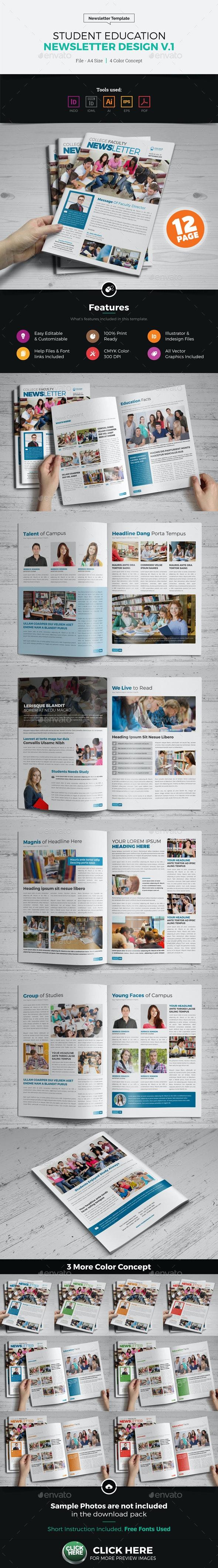 Student Education Newsletter Design - Newsletters Print Templates