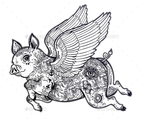 Flying Winged Pig - Animals Characters