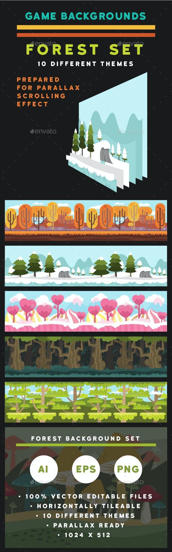 Forest Game Background Set - Backgrounds Game Assets