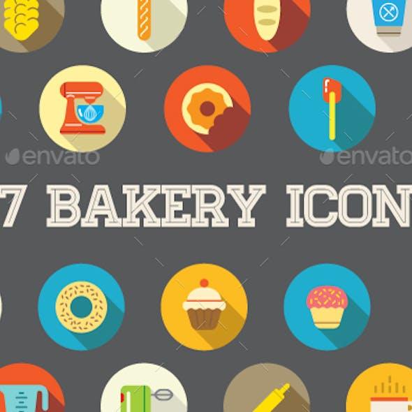 Bakery 27 Flat Icons Set